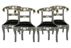 Anglo-Indian Bone Inlay Chairs, Set of 4