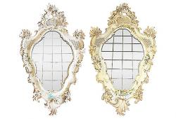 Antique Carved Venetian Mirrors, Pair