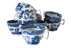 Antique English Blue Willow coffee/teacup set of 8