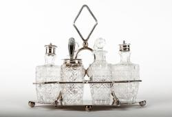 Antique English Silver Plate With Cut Crystal Condiment Set .