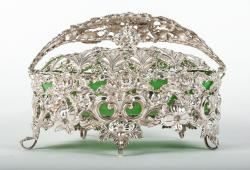 Antique English Silver Plated Basket Dish with Celadon Glass Insert