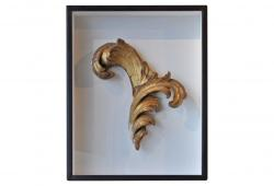 Antique Framed Gold Church Scroll Architectural Fragment