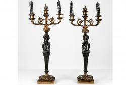 Antique French Bronze Candelabras
