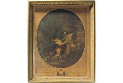 Antique French Lovers Engraving