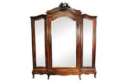 Antique French Rosewood 3-Door Armoire