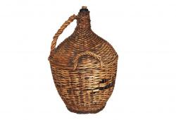 Antique French Wine Decanter in Basket Weave
