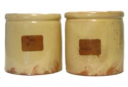 Antique French Yellow Glazed Terracotta Pots, Pair