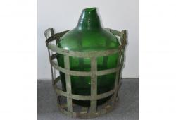 Antique Hand-blown Demijohn in Vintners Metal Basket
