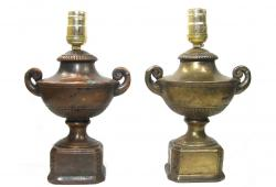 Antique Neoclassical Urn Lamps, Pair
