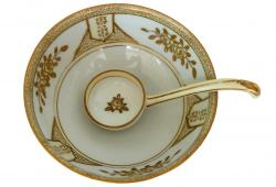 Antique Noritake Morimura Handpainted Gilt Footed Dish with Spoon