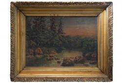 Antique oil on canvas Forest Stream