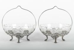Antique Pair English Silver Plate Condiments / Candy Dishes .