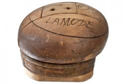 Antique Puzzle-Style Wood Hat Block with Markings