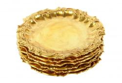 Antique Set Six 24Karat Gold Plated Dessert Plate.
