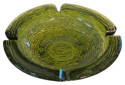 Mid-Century Green Art Glass Ashtray