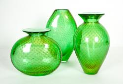 Mid-Century Modern Three Pieces Murano Vases or Pieces, Green w/Gold Flecks