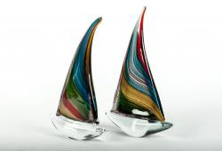 Mid-Century Pair Murano Glass Decorative Boat Pieces