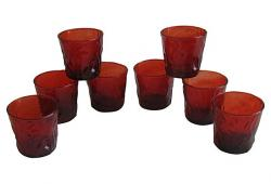 Mid-Century Red Rocks Bar Glasses, S/8