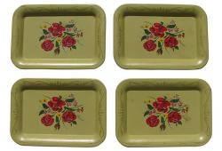 Mid-Century Tole Hors d'Oeurves Trays, S/4