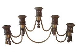 Midcentury Brass & Wood Wall Sconce