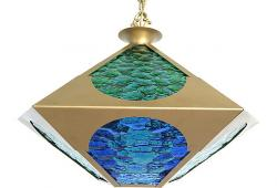 Midcentury Stained Glass & Brass Pendant