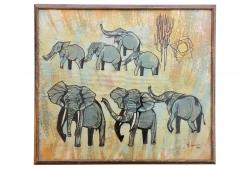 Modernist Safari Elephant Painting