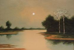 Moonlit Lake Watercolor