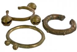 Moroccan Brass and Copper Bracelets, Set Of 3