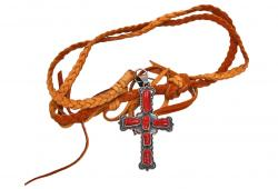 Navajo JC Delgarito Sterling Coral Cross on Deerskin