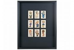 Nine Framed Art Deco Old Maid Playing Cards