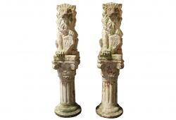 Noble Lion Statues on Column Pedestals, Pair