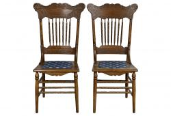 Oak Pressed Back Chairs, Pair