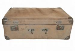 Old Canvas and metal Suitcase