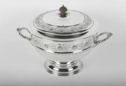 Old English Sheffield Silver Plated Covered Tureen