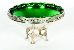Old English Sheffield Silver Plated Footed Centrepiece, Green Glass