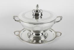 Old English Sheffield Three Pieces Covered Tureen .