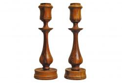 Olive Wood Candlesticks, Pair