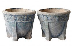 Pair of 20th C. Faded Blue Footed Planters