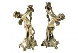 Pair of Antik Cherub Candleholders