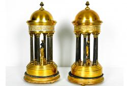 Pair of Antique French Bronze Greek Dome with Goddess