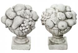 Pair Of Cast Concrete Fruit Urns