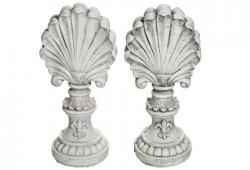 Pair Of Cast Concrete Shell Finials