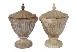 Pair of Neoclassical Cast-Iron Fluted Urns