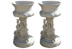 Pair of Victorian Kramer Ohio Garden Urns