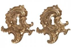 Pair Of Vintage French   Gilded Bronze Keyhole Plates