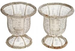 Pair Of Vintage French Wire Votive Candle Holders
