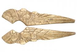 Pair Of Vintage Inspired Hand-Carved Gilded Wood Wings