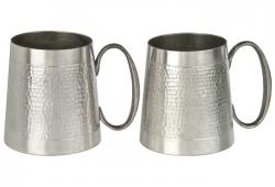 Pair Of Vintage Malaysian Hammered Pewter Mugs