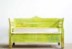 Antique Pine Bench with Original Paint