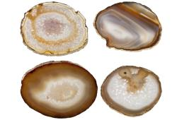 Polished Agate Coasters With Gold Edging, Set Of Four